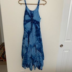 Sakkas tie-dye lace up embroidered layered BOHO fe